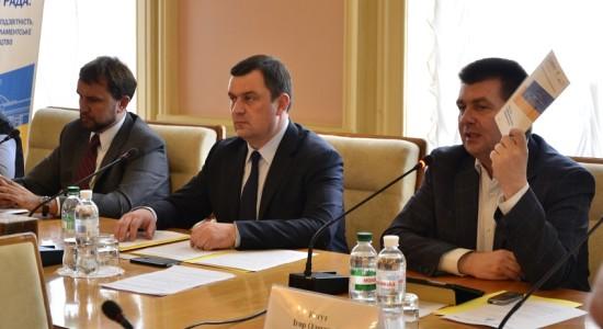 З ліва направо: В'ячеслав В'ятрович, Валерій Пацкан, Ігор Когут
